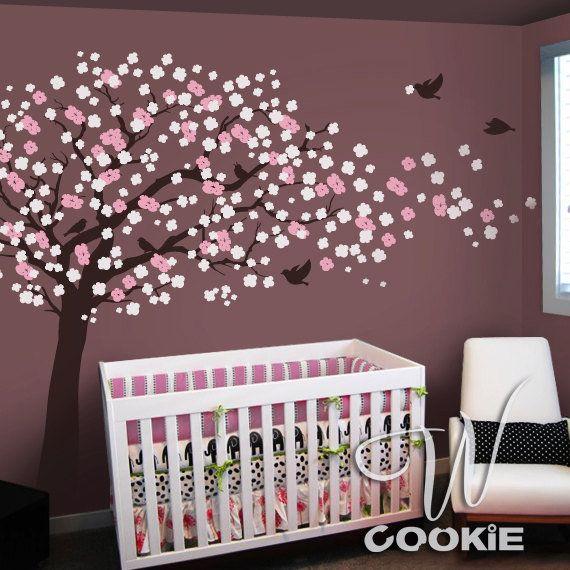 Cherry Blossom Tree With Birds Nursery Wall Decal By Wcookie Nursery Wall Decals Tree Nursery Wall Decals Bird Nursery
