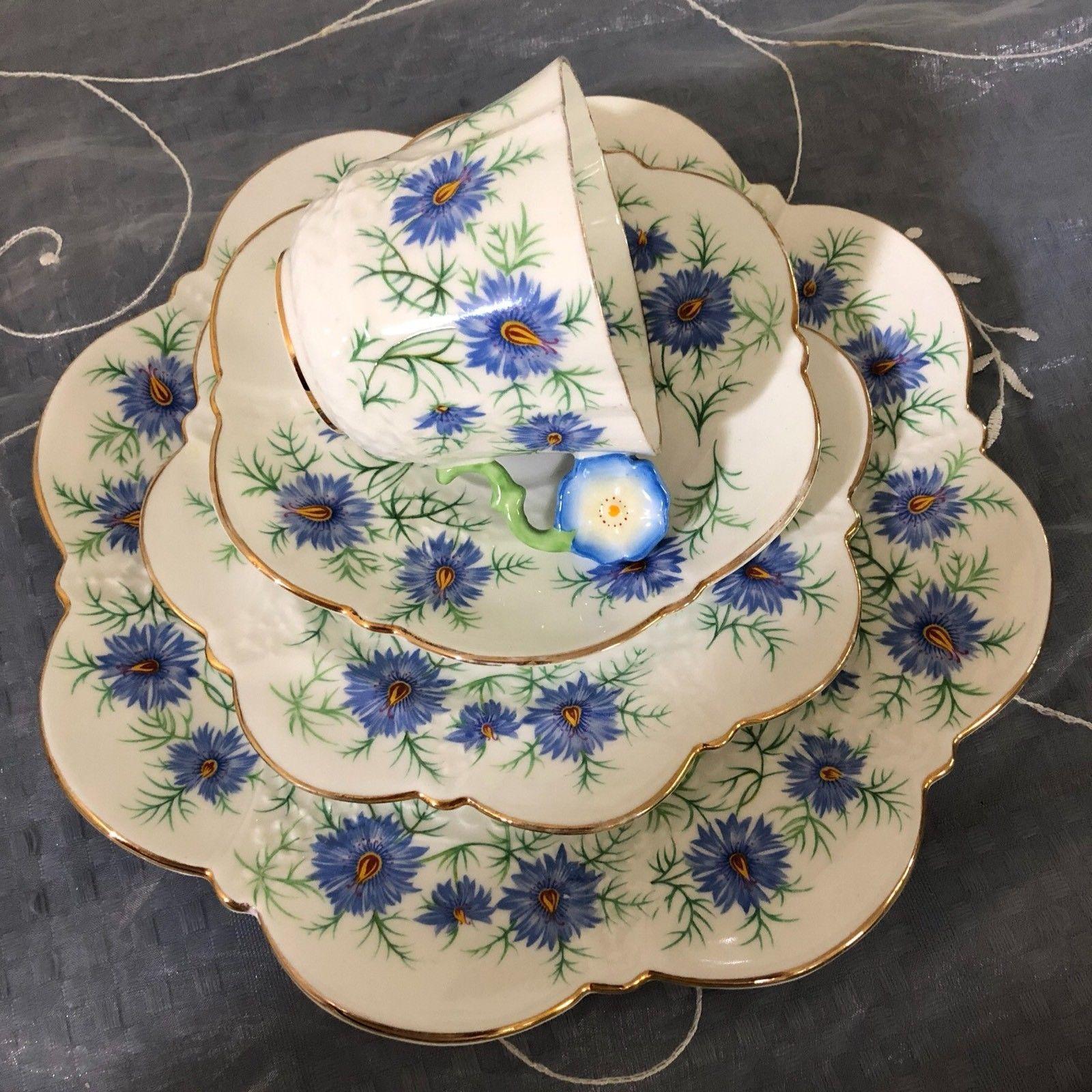 Aynsley China Flower Handle Quad Set Blue Flowers Tea Cup Trio  ~ Tazas Para Infusiones El Corte Ingles