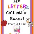 This file is a 64 page download of my letter collection boxes. This file is a great tool for introducing letters and sounds. It also can be used as a center, small group, or homework activity.  Included in this file you will find the following: Suggested direction sheets Letter Collection Book Cover for boy and girl Letter Collection Song to sing as students head off to work.  27 letter boxes with d'nealian font for tracing upper and lower case letters $7.99