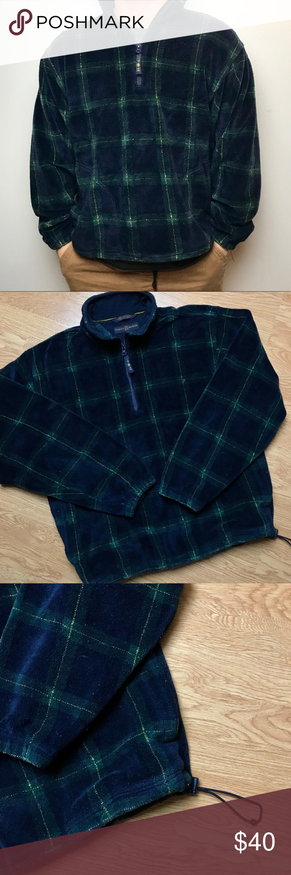 Vintage tommy hilfiger checkered golf fleece m tommy hilfiger