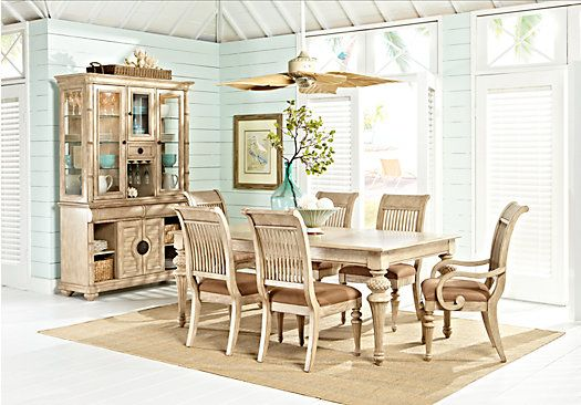 Cindy Crawford Home Key West Sand 5 Pc Rectangle Dining Room With Slat Chairs