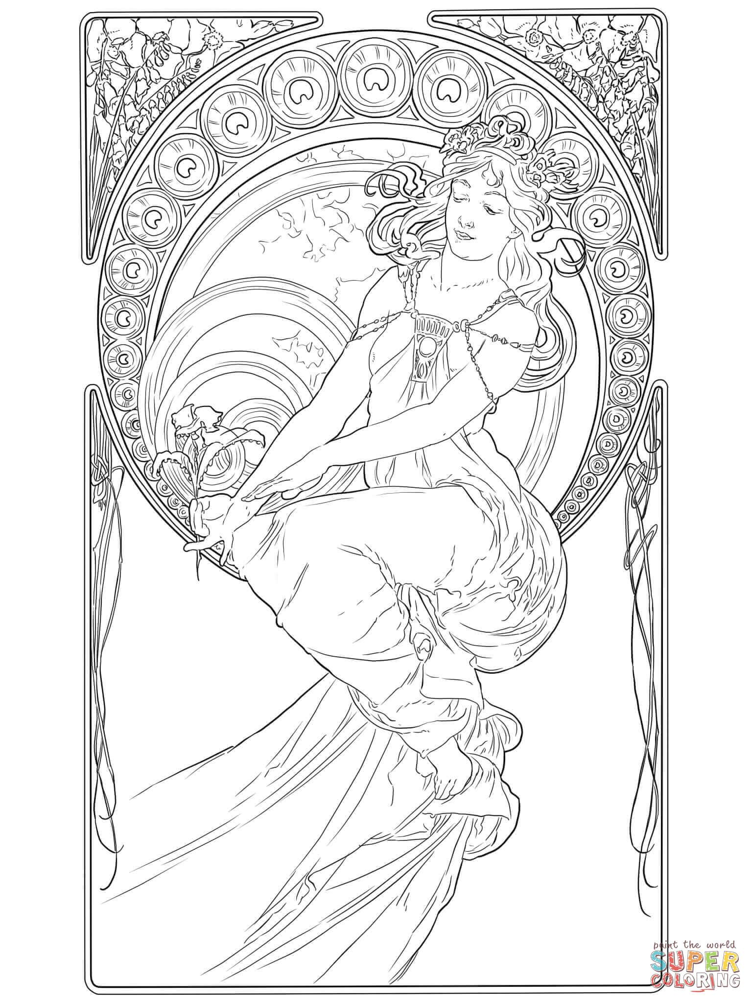 Painting By Alphonse Mucha Coloring Page From Art Nouveau Category