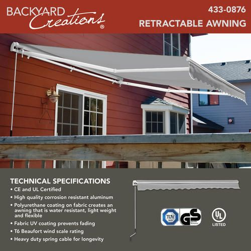 Backyard Creations 12 W X 10 Projection Gray Retractable Patio Awning With Manual Operation In 2020 Patio Awning Backyard Creations Backyard