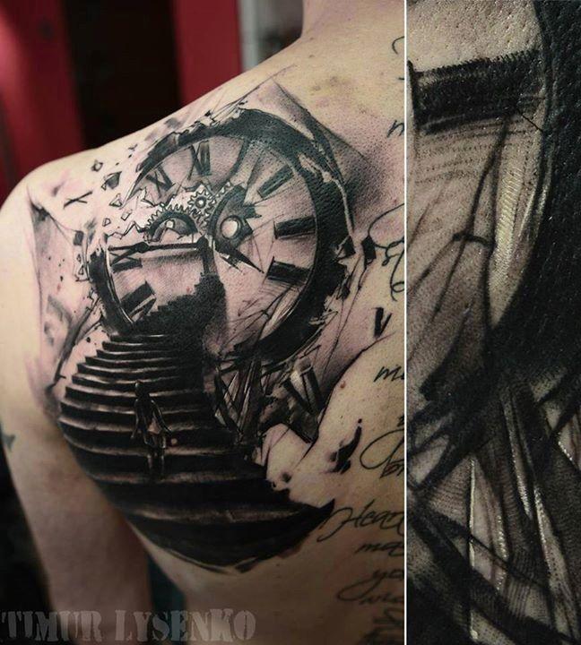tatouage horloge realiste tatouage graphique et abstrait. Black Bedroom Furniture Sets. Home Design Ideas