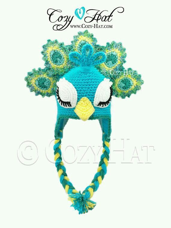 Pavo real | gorros | Pinterest | Croché, Ganchillo y Gorro tejido