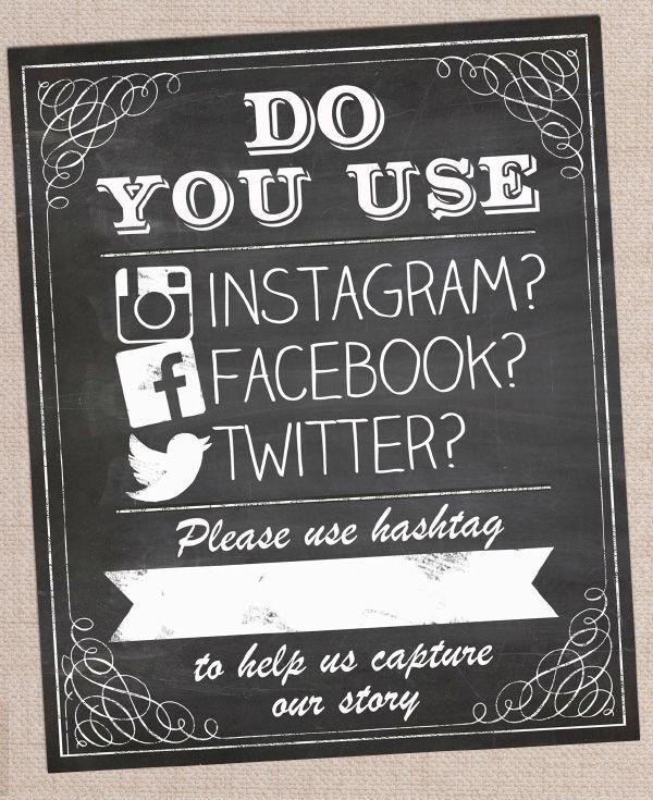 Printable Pdf Digital Print Your Own Diy Wedding Photo Booth Chalkboard Instagram Facebook Twitter Hashtag Poster