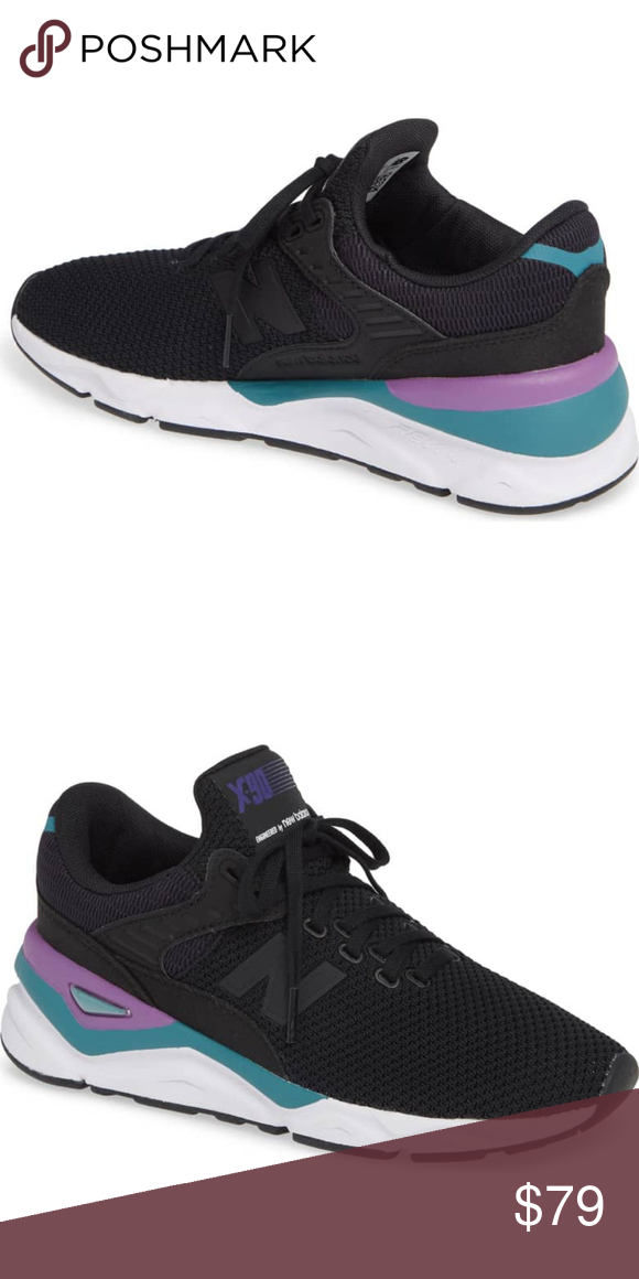 03fb22f784f1c 🆕 NEW BALANCE X-90 Lace Up Sneakers NIB! In Black/Purple A stretchy ...