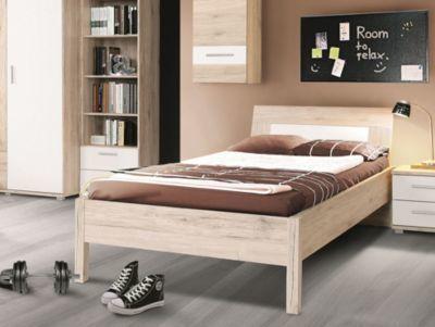 Bett 90 x 200 cm Sandeiche/ weiss FORTE MÖBEL Beach Jetzt bestellen