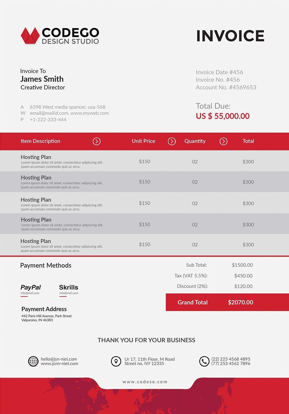 Free Professional Invoice Template PSD Print Templates - Psd invoice template