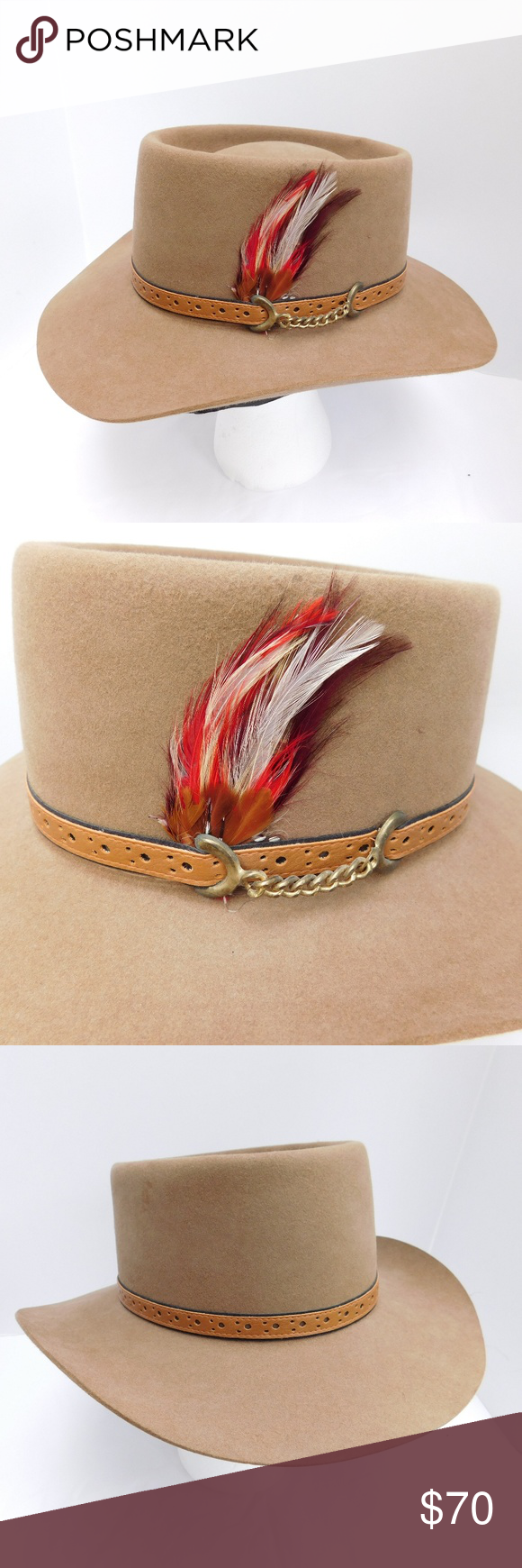 Vintage Akubra Australia Cowboy Hat Brand Akubra Color Tan Brown Material Felt Fur Feather Style Hat Features Brass Cowboy Hats Cowboy Hat Brands Cowboy