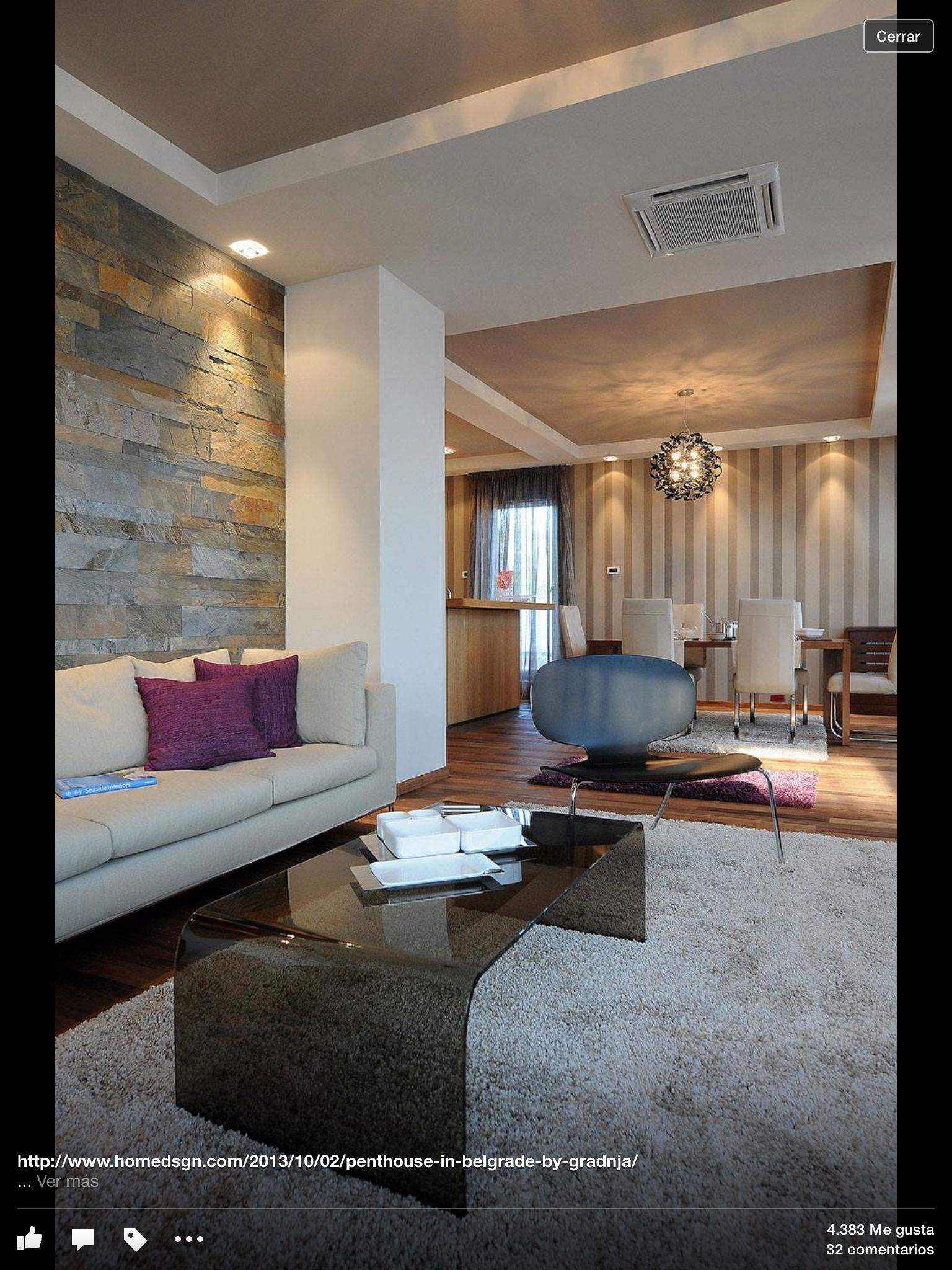 Beautiful Penthouse Design Idea: Gorgeous Penthouse Design In Belgrade: Stunning  Living Room Glass Coffee Table Modern Textures Penthouse