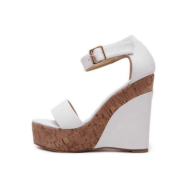 50e7c31229d9 White Pu Open Toe Ankle Strap Cork Wedges ( 26) ❤ liked on Polyvore  featuring shoes