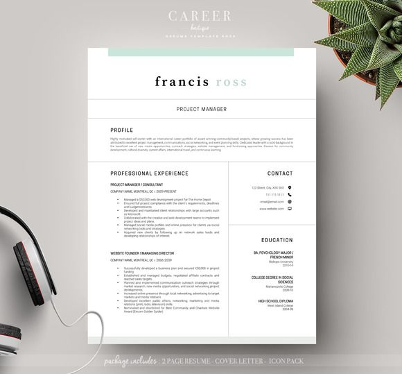 Modern Resume U0026 CoverLetter Template @CleanResume | Simple Resume Template  | Pinterest | Modern Resume, Template And Resume Writing