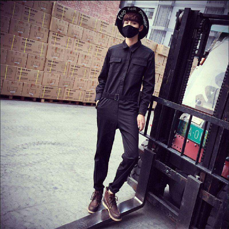 Mens black fashion overalls 39