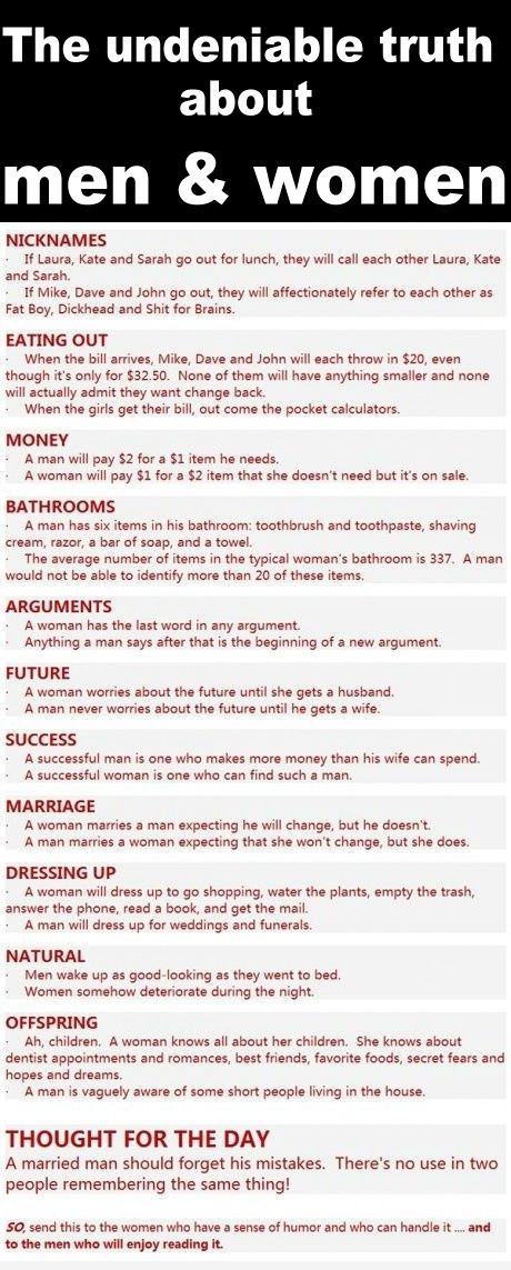 The undeniable truth about men & women. SO FUNNY!!