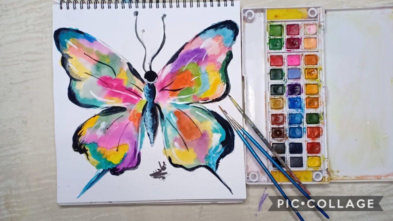 طريقة رسم فراشة ببقع الالوان Youtube Watercolor Tattoo Tie Dye Watercolor