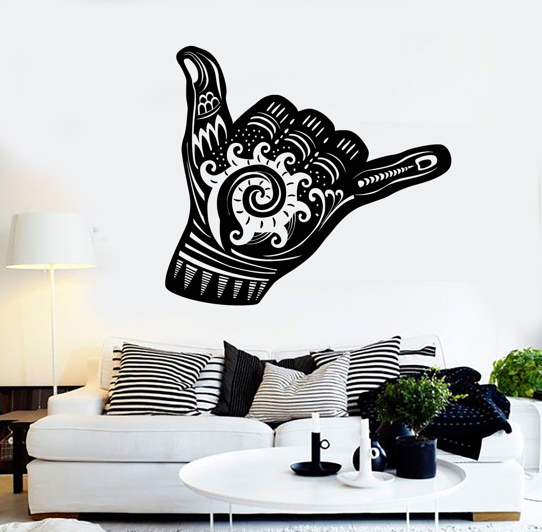 Vinyl Wall Decal Shaka Sign Hang Loose Surfing Wave Stickers Mural Unique Gift Ig4365 Shaka Sign Vinyl Wall Decals Sticker Art