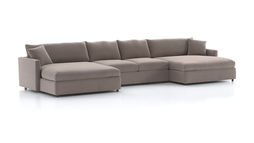 Lounge Ii Petite 3 Piece Double Chaise Sectional Sofa Crate And