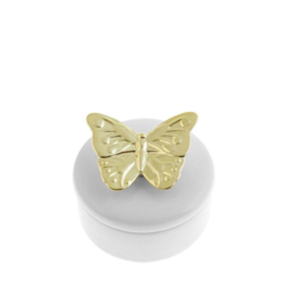 Butterfly Kiss Ceramic Trinket Box White/Gold Medium - Homeware ...