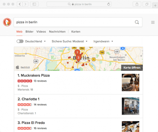 DuckDuckGo uses Apple Maps for search results mac&egg