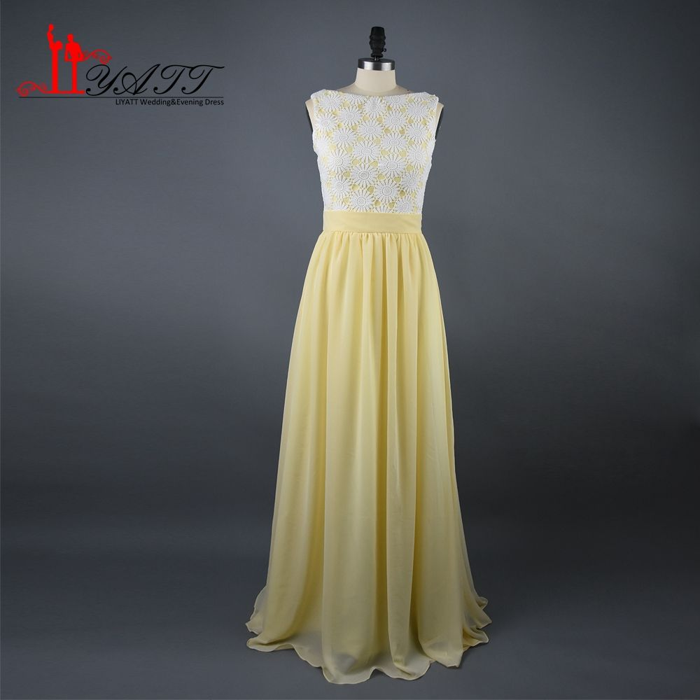 Click to buy yellow chiffon bridesmaid dresses sleeveless lace click to buy yellow chiffon bridesmaid dresses sleeveless lace top lemon gowns ombrellifo Image collections