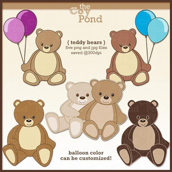 Teddy Bear Clip Art clipart scrapbooking cards by TheCoyPond ...