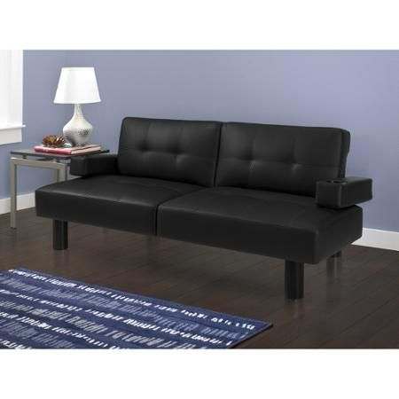 Mainstays Faux Leather Sofa Bed Black