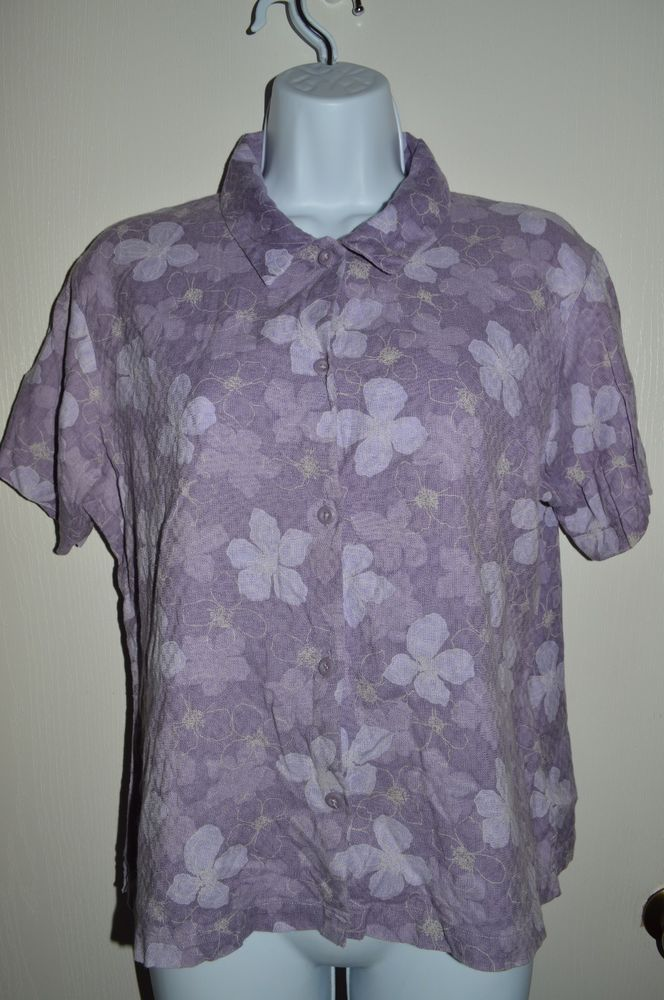 WOOLRICH Women's Spring Flowers Shirt LARGE Purple Spring Collared Blouse Top #Woolrich #Blouse #Casual