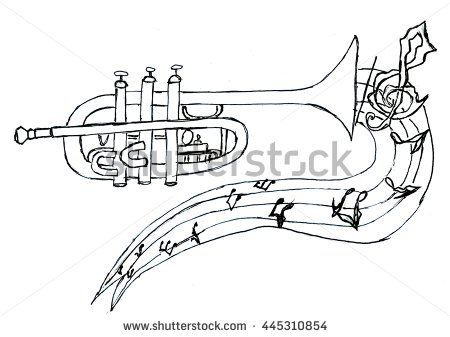 Cartoon Trumpet In Simple Sketch Style Hand Drawn Illustration Sketches Easy How To Draw Hands Ink Illustrations