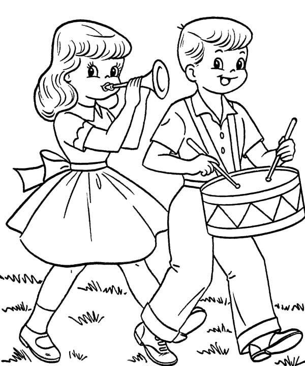 Drummer Boy And Girlfriend In Fourth Of July Coloring ...
