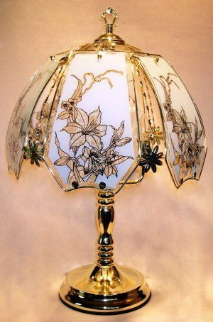 Lilies On White Glass Touch Lamp Ok Lighting Http Www Amazon Com