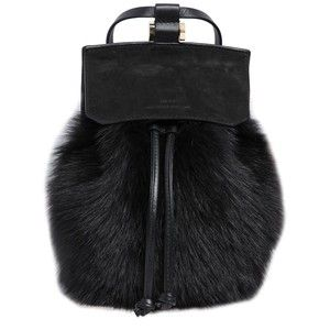 DESA NINETEENSEVENTYTWO Two Suede & Leather Backpack W/ Lamb Fur