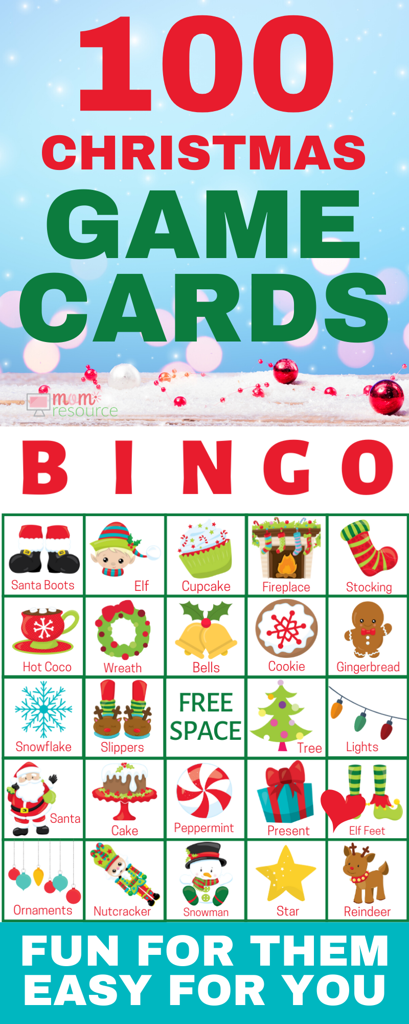Free Christmas Bingo Cards For Large Groups