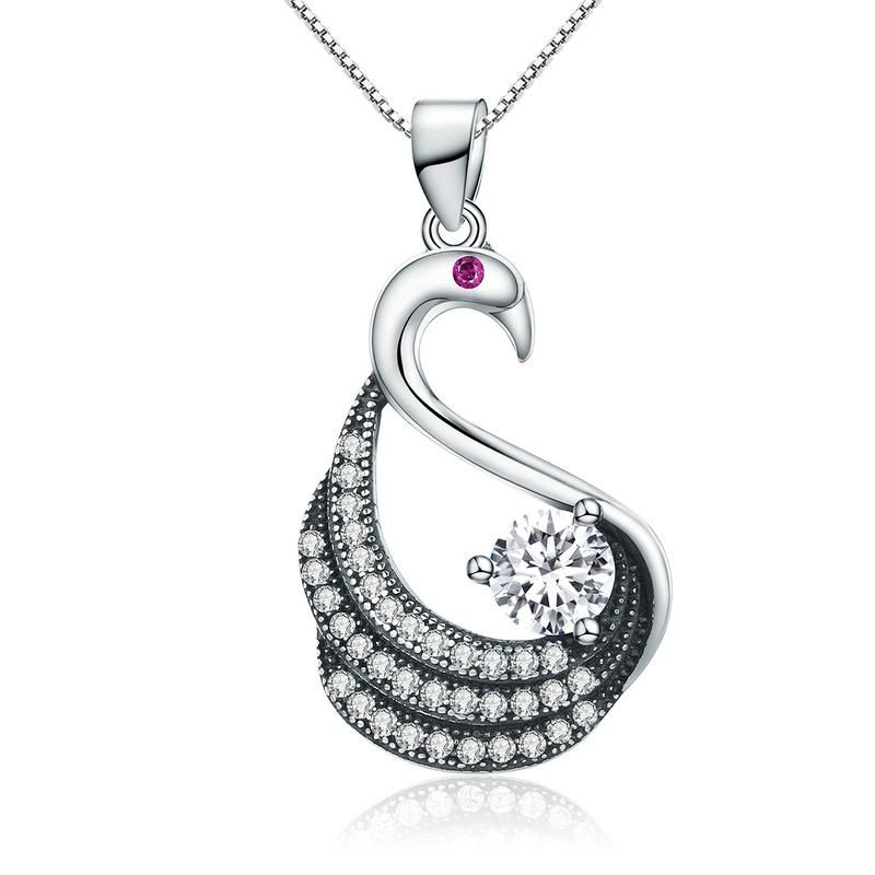 Genuine 100 925 sterling silver dancing swan dazzling cz pendant dancing swan dazzling necklace sterling silver with cubic zirconia perfect gift for her beautiful christmas present unusual jewelry jewellery rebecca aloadofball Images