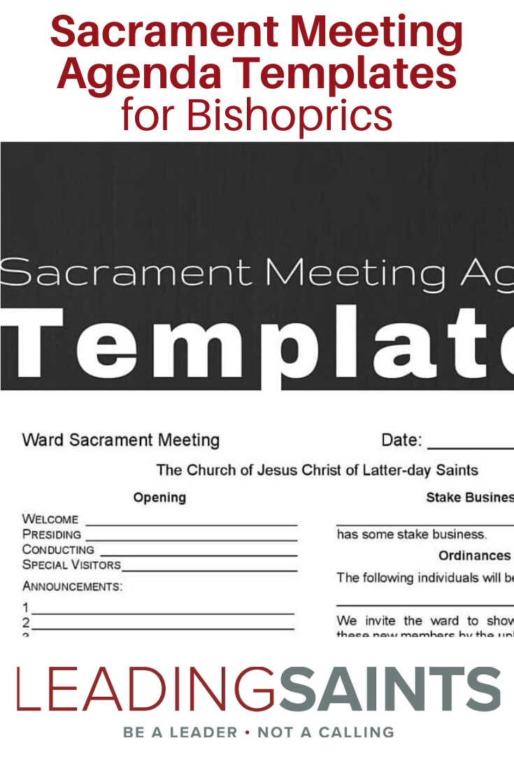 Sacrament Meeting Agenda Templates For Bishoprics Leading Saints Meeting Agenda Template Meeting Agenda Agenda Template