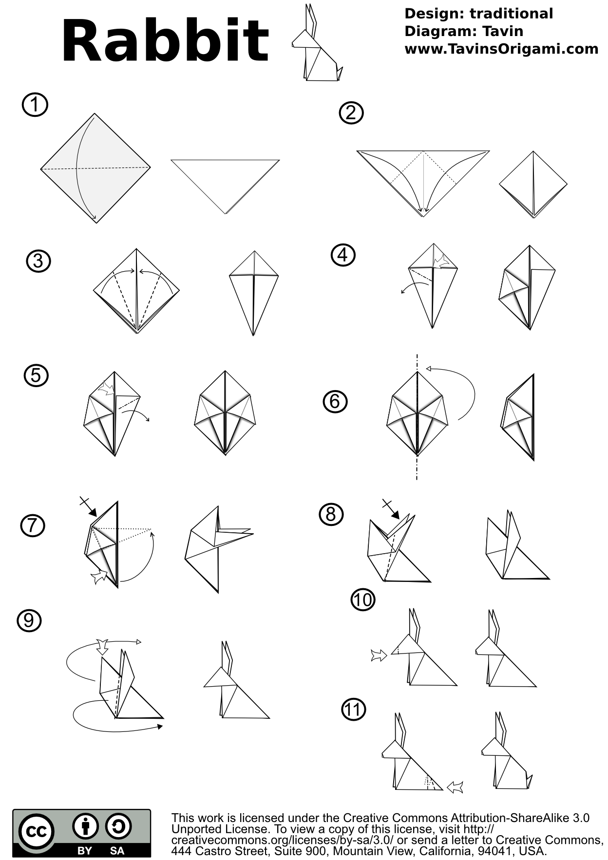 images for 3d origami bunny instructions [ 1248 x 1766 Pixel ]