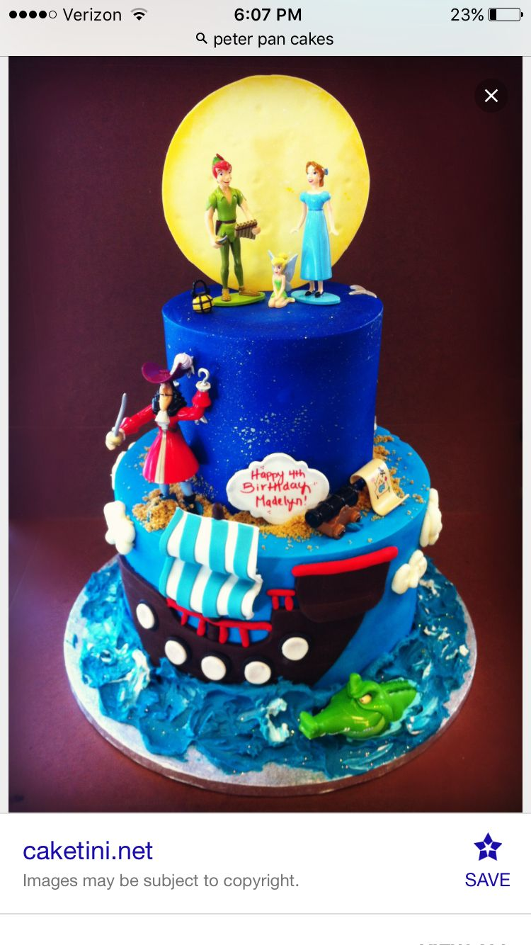 Peter Pan Cake With Images Peter Pan Cakes Peter Pan Party