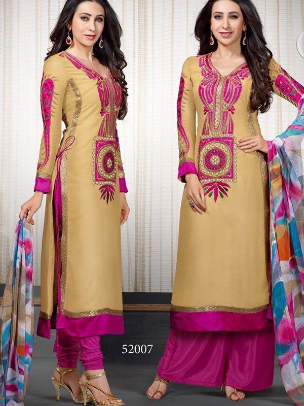fad0882cc9 Unique Golden Color Georgette Strait Cut Salwar Suit Latest Salwar Suits,  Salwar Suits Online,