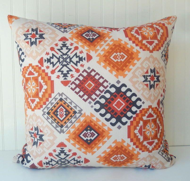 Orange Pillow COVER 18 x 18 Throw Pillow Zipper Closure Southwestern Rust Brown & Orange Pillow COVER 18 x 18 Throw Pillow Zipper Closure ... pillowsntoast.com