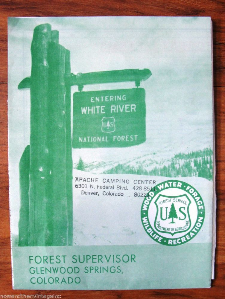 Vintage Map White River National Forest Colorado 1958 Large US ...