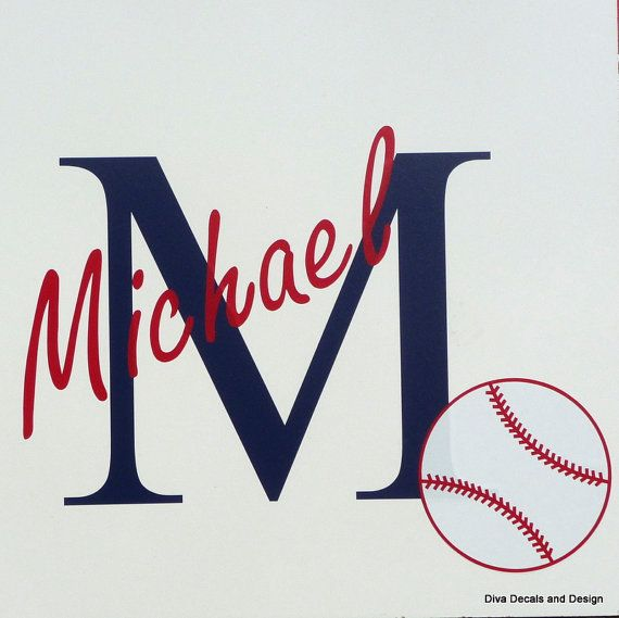 Large Custom Vinyl Initial And Name With By DivaDecalsandDesign - Custom vinyl baseball decals