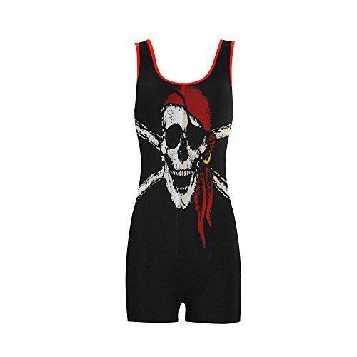 iHomeStore Pirate Skull Custom One Piece Boyleg Swimsuit Sport Swimming  Bathing Suit L. iHomeStore Pirate Skull Custom One Piece Boyleg Swimsuit Sport