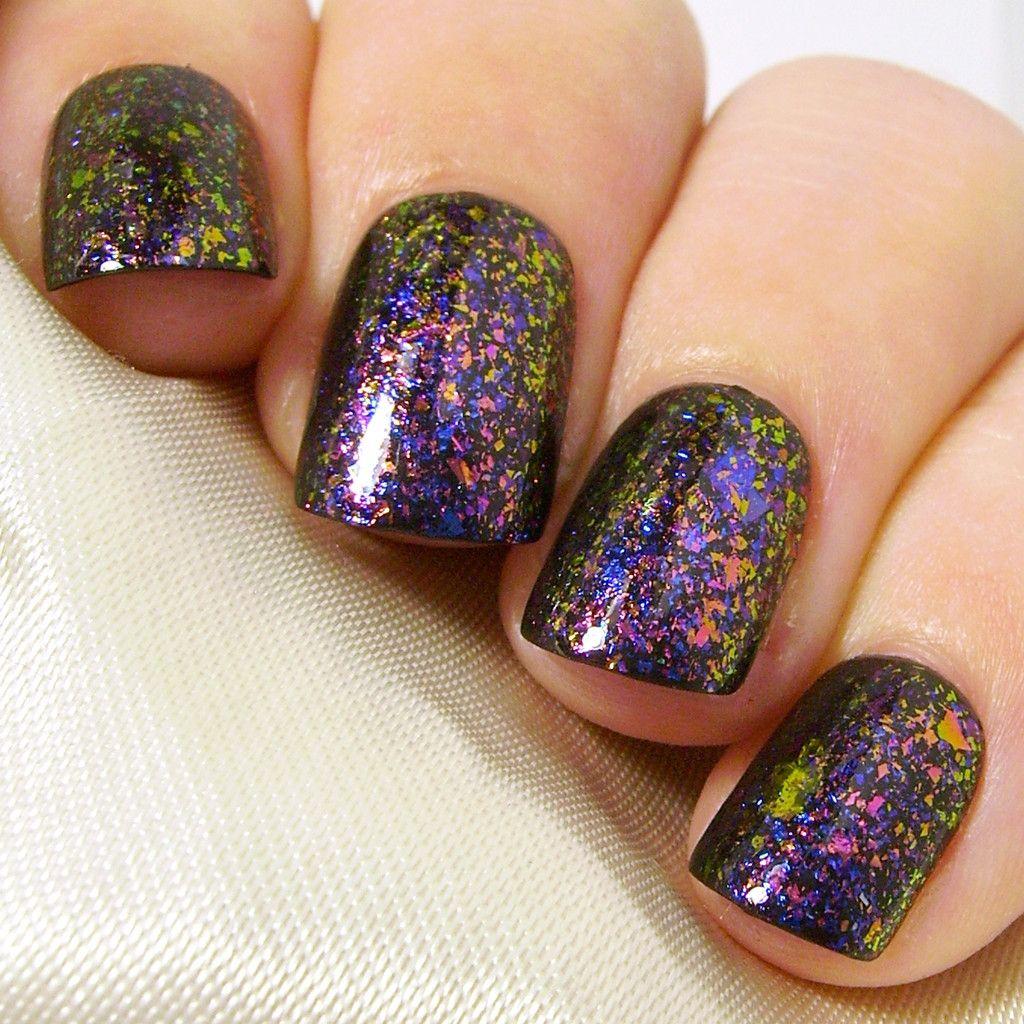 Extra Short Square False Nails | Pink Blue Purple Green Multichrome ...