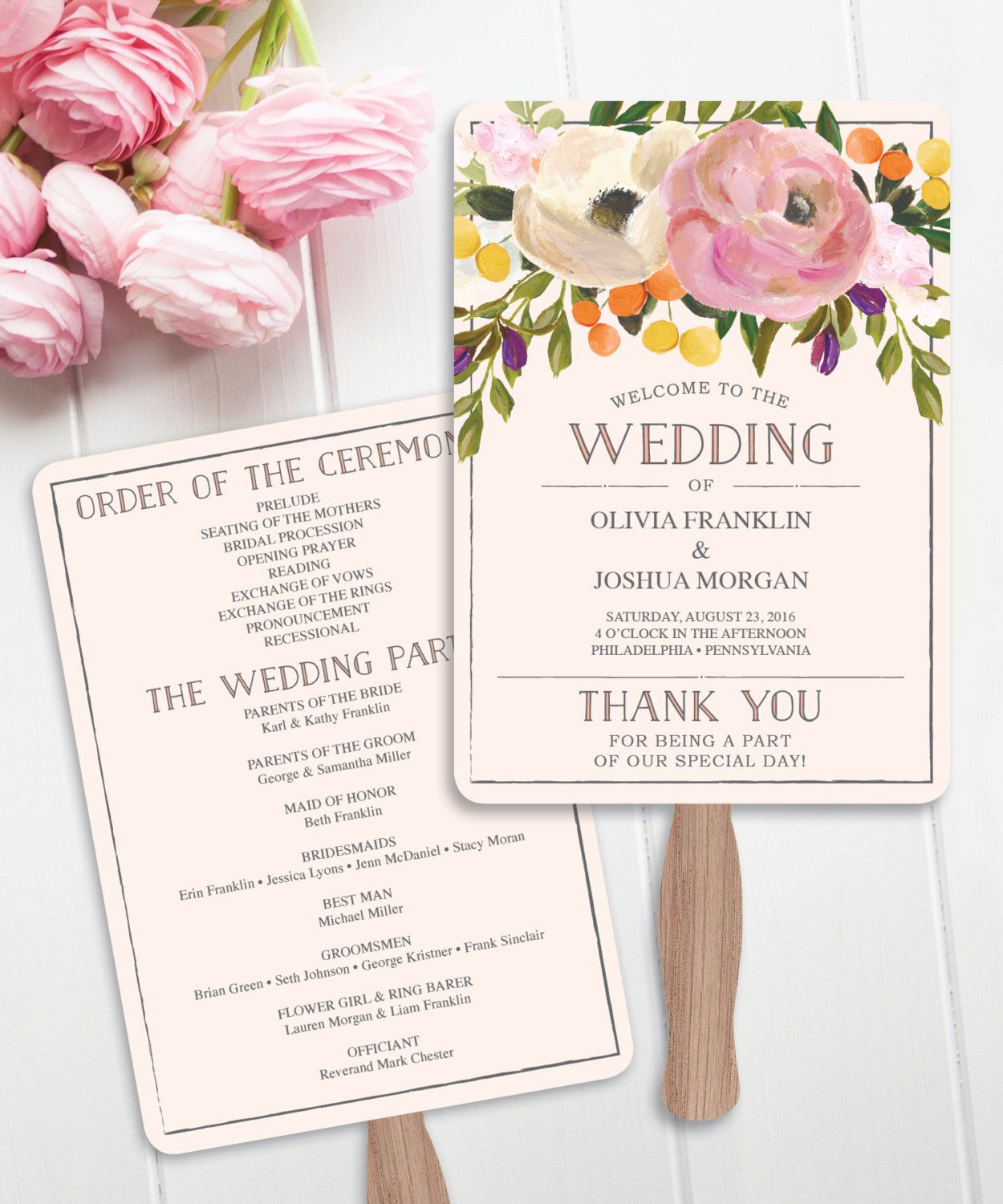 How To Make A Wedding Fan Program Diy Step By Instructions With Photos Creativeuniondesign