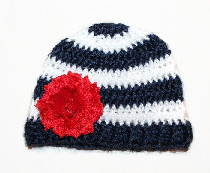 Newborn Patriotic Nautical Flower Handmade Baby Girl Crochet Red White Blue  Newborn Baby Shower usa Navy b9a1fd95d19