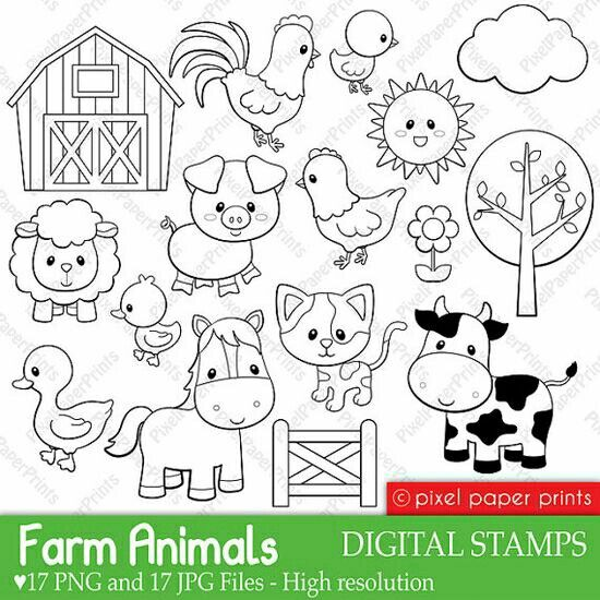 Clipart Animales De La Granja Digital Stamps Embroidery Patterns Coloring Pages