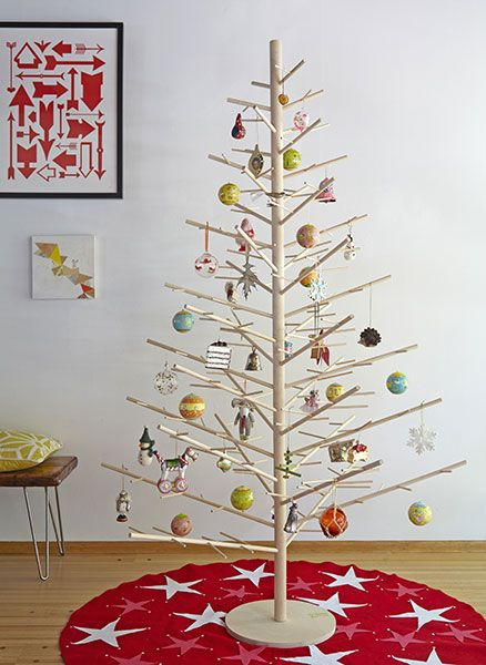 wooden dowel christmas tree gorgeous almost tempted to make my own - How To Make My Own Christmas Decorations