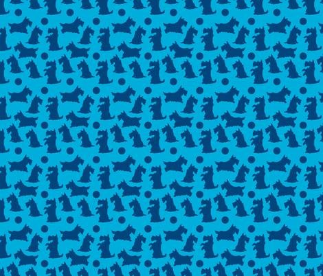 scotties1-Blue on blue fabric by iesza-jessica on Spoonflower - custom fabric