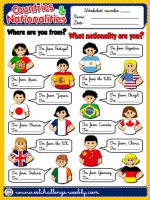 Countries And Nationalities Worksheet 7 Exercicios De Ingles