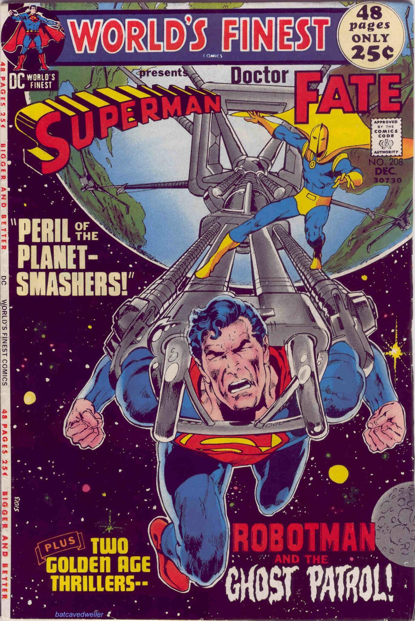 World's Finest (1971). Cover art: The exciting Neal Adams! Superman pulls the Earth! World's Finest